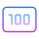 100 Icon in Gradient Style