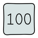 100 Icon in Doodle Style